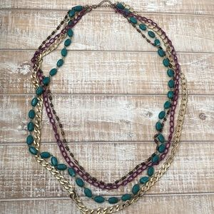 LONG Layered Multi Colored Necklace